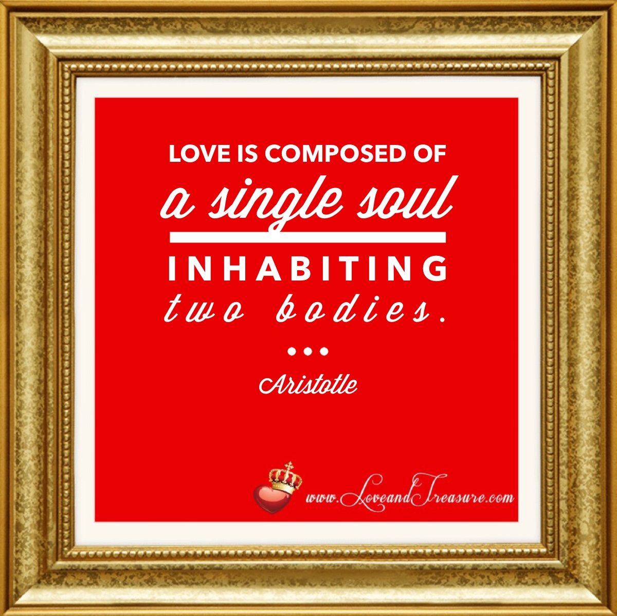 Love is composed of a single soul inhabiting two bodies. -Aristotle, #love, love and treasure, www.loveandtreasure.com